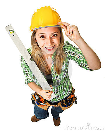 Woman with spirit level