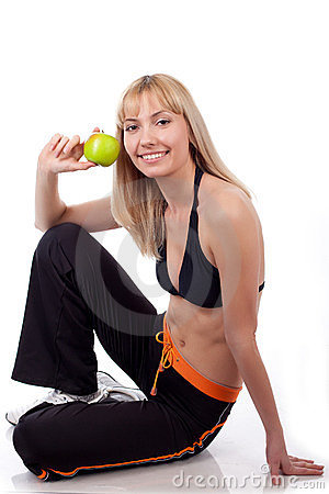 Woman sport with green apple