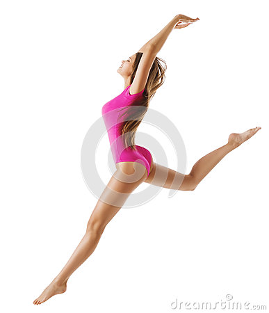 Free Woman Sport Gymnast, Young Girl Dance Jump, Slim Sporty Body Stock Images - 85827614