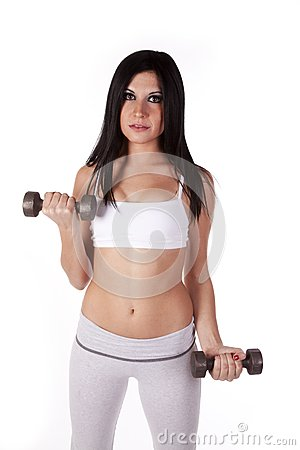 Woman sports bra working weights