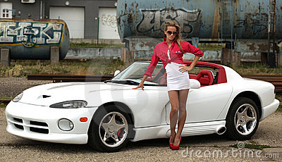 Woman and sports car