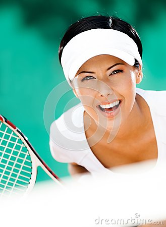 Woman in sportswear playing tennis