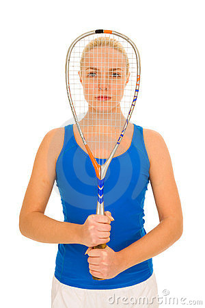 Woman with squash racquet