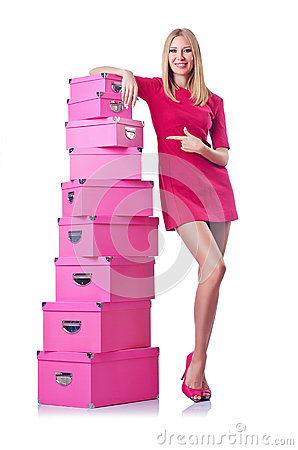 Woman with stack