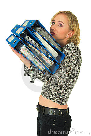 Woman with stack of folders