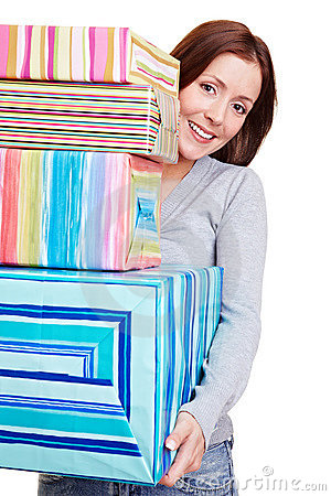 Woman with stack of gifts