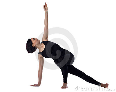 Woman stand on knee yoga asana isolated