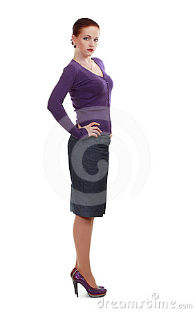 Woman standing in high-heeled shoes