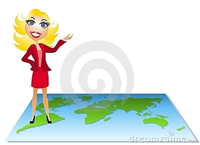 Woman Standing on Map