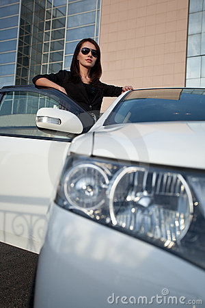 Free Woman Standing Near Car, Wide Angle Royalty Free Stock Image - 22530046