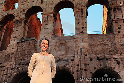 Woman standing near Colosseum