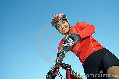 Woman Standing Next to Bicycle - Horizontal