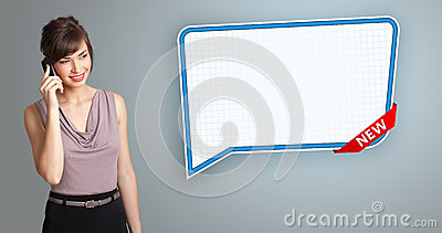 Woman standing next to speech bubble copy space