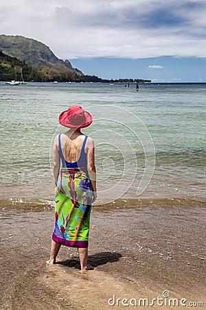 Woman in ocean Hanalei Bay Kauai