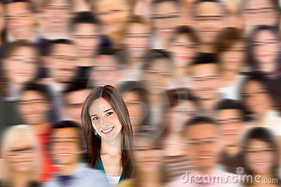 Woman standing out from a crowd