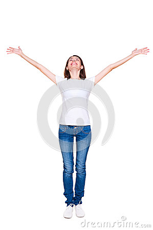 Woman standing with raised up hands
