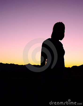Woman Standing Silhouette