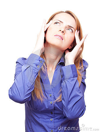 Woman standing tilt head and has got an headache