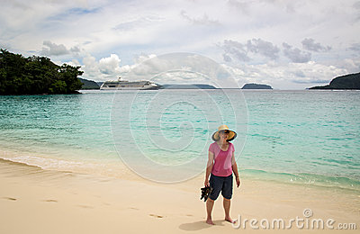 Woman Standing on Tropical Beach