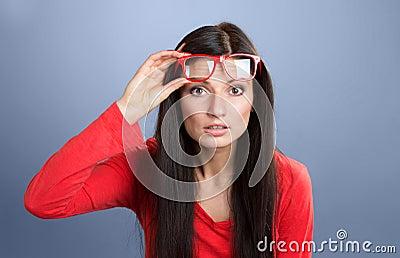Woman staring at camera