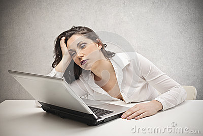 Woman staring at the laptop