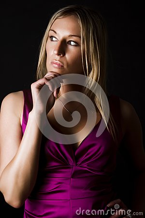 Woman Staring And Thinking Stock Photo - Image: 15256570