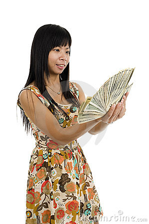 Woman starring at money