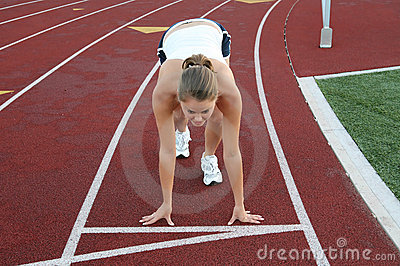Woman Starting Race