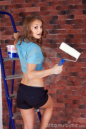 Woman starting renovation