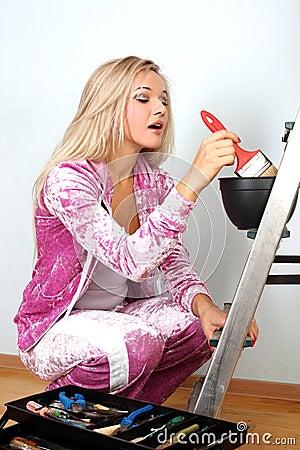 Woman starting renovations