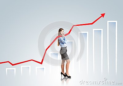 Woman with statistics curve