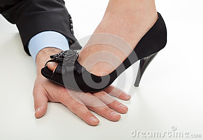 Woman Stepping On Man Woman Step On The Hand...