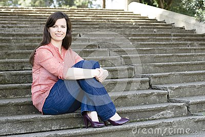 Woman on Steps