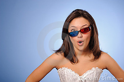 Woman with stereo glasses