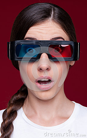 Woman in stereo glasses