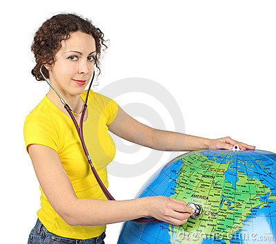 Woman with stethoscope and big inflatable globe