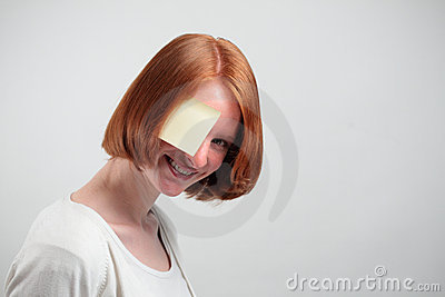 Woman with Sticky Note