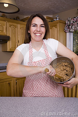 Woman stirring cookie dough
