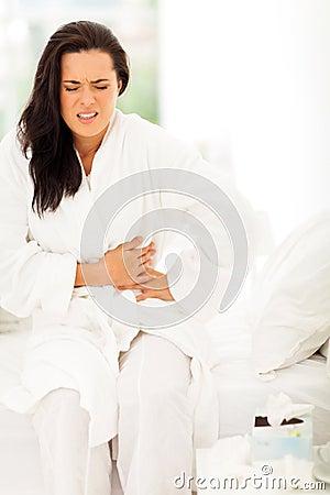 Woman stomach pain