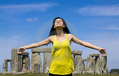 Woman at Stonehenge (England)