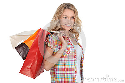 Woman with store bags