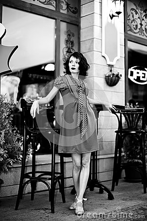 Woman at street cafe