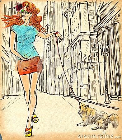 An woman through the street. Hand drawn illustration.