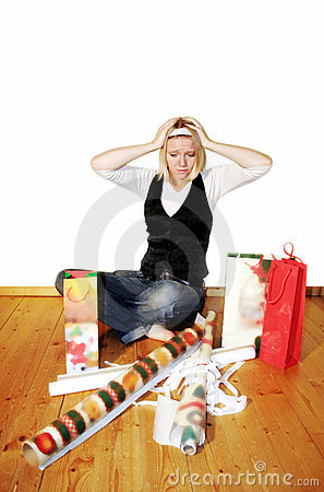 woman with stress on christmas
