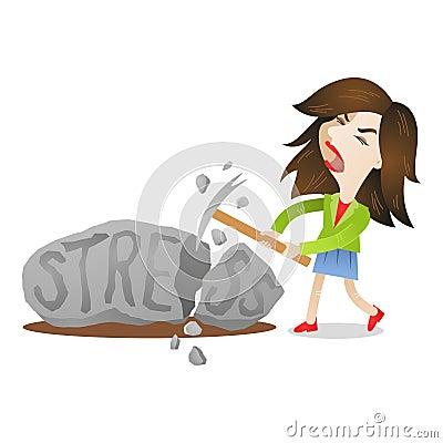 Free Woman Stress Rock Smashing Stock Photo - 40802350