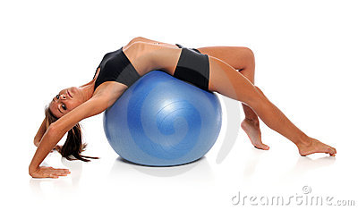 Woman Stretching On Fitness Ball