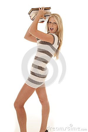 Woman striped dress books up