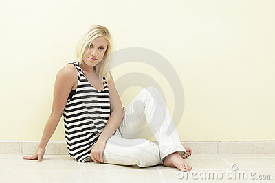 Woman in a striped shirt