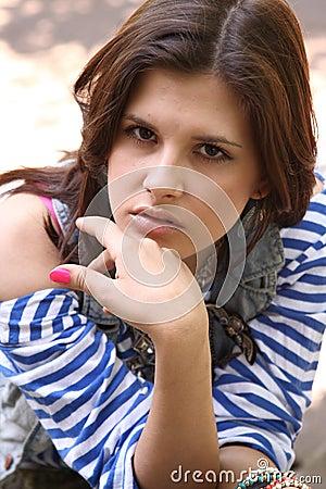 Woman in striped vest