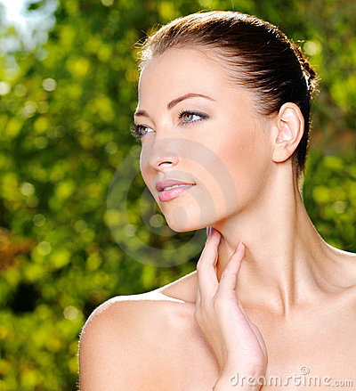 Free Woman Stroking Her Fresh Clean Skin Of Face Stock Photos - 15473523